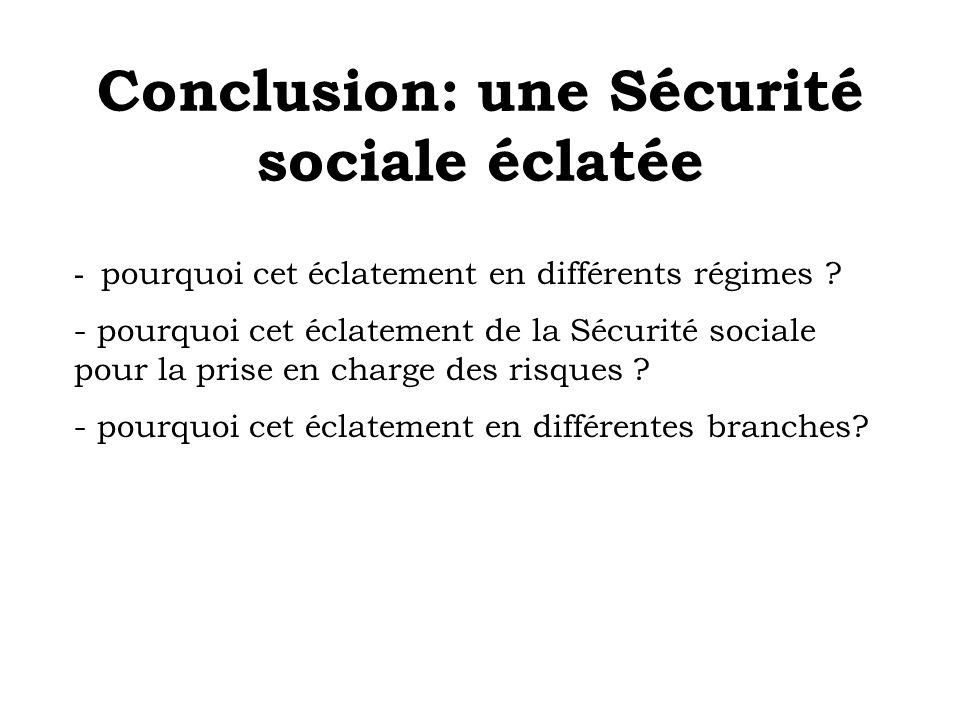 Conclusion: une Sécurité sociale éclatée - pourquoi cet éclatement en différents régimes ? - pourquoi cet éclatement de la Sécurité sociale pour la pr