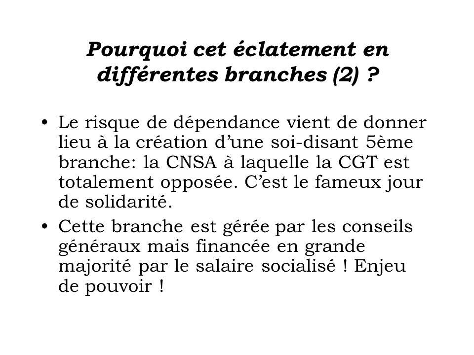 Pourquoi cet éclatement en différentes branches (2) ? Le risque de dépendance vient de donner lieu à la création dune soi-disant 5ème branche: la CNSA