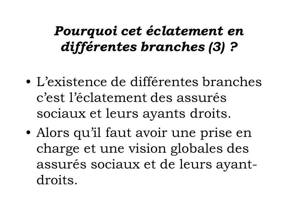 Pourquoi cet éclatement en différentes branches (3) ? Lexistence de différentes branches cest léclatement des assurés sociaux et leurs ayants droits.
