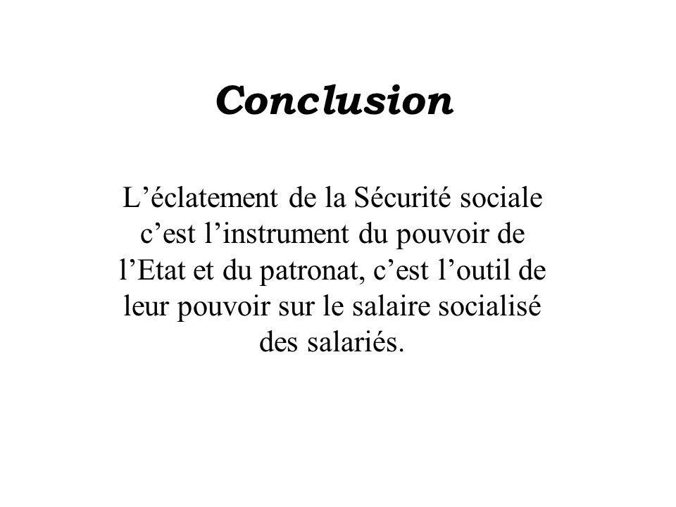 Conclusion Léclatement de la Sécurité sociale cest linstrument du pouvoir de lEtat et du patronat, cest loutil de leur pouvoir sur le salaire socialisé des salariés.