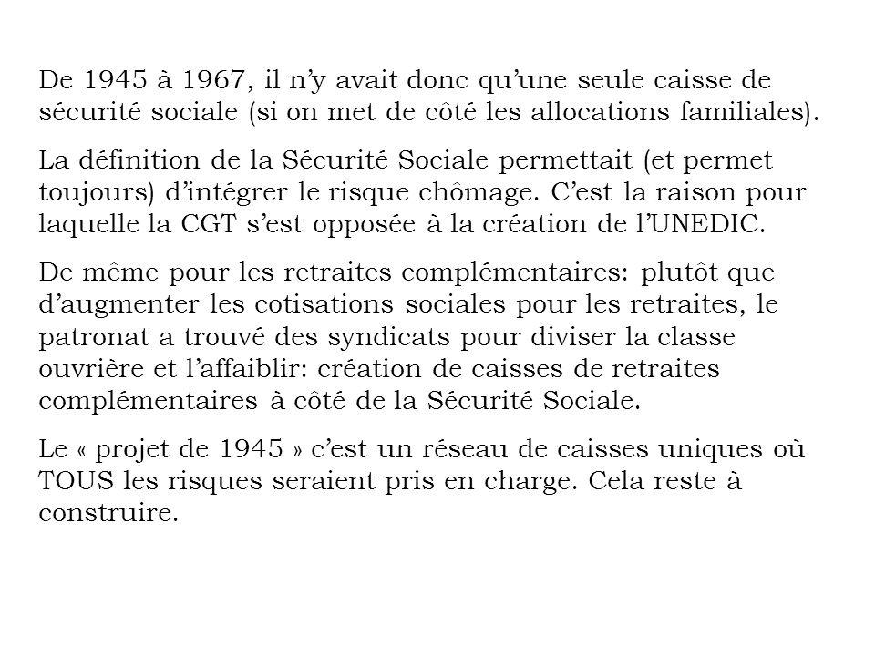 De 1945 à 1967, il ny avait donc quune seule caisse de sécurité sociale (si on met de côté les allocations familiales). La définition de la Sécurité S