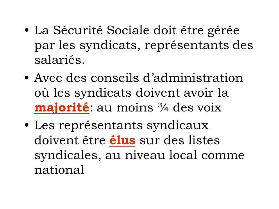La Sécurité Sociale doit être gérée par les syndicats, représentants des salariés. Avec des conseils dadministration où les syndicats doivent avoir la