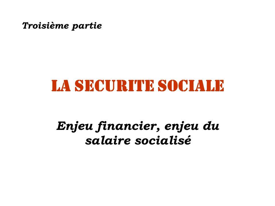 LA SECURITE SOCIALE Enjeu financier, enjeu du salaire socialisé Troisième partie