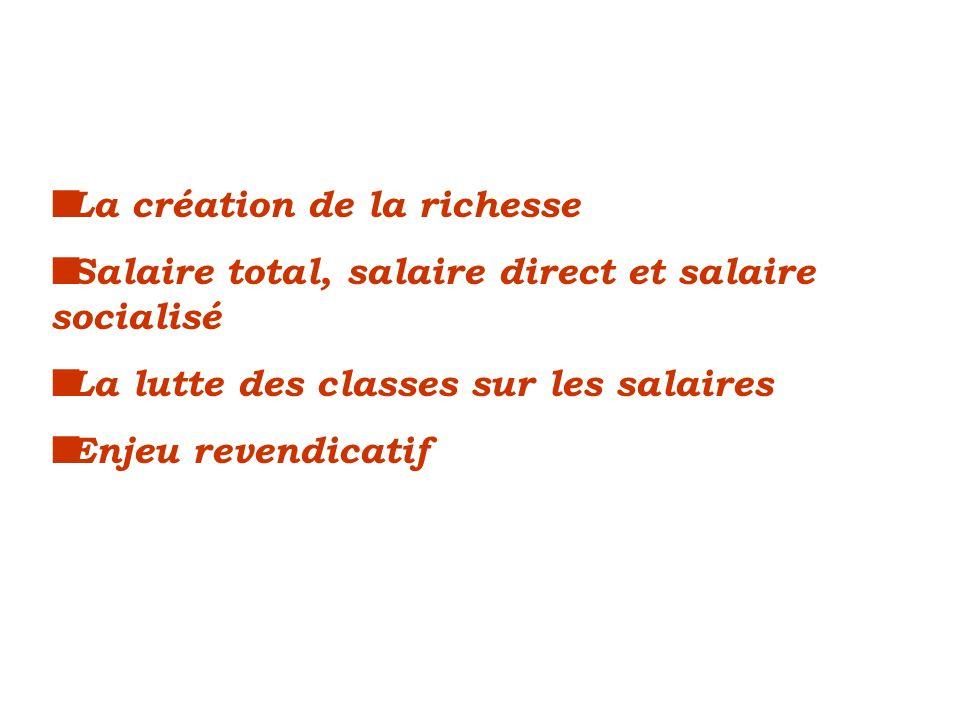 La création de la richesse Salaire total, salaire direct et salaire socialisé La lutte des classes sur les salaires Enjeu revendicatif