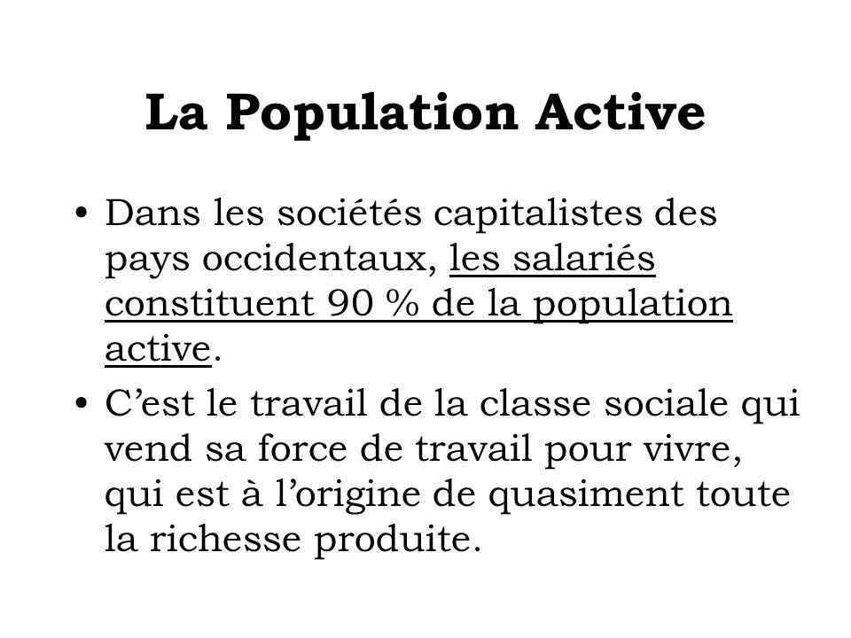 La Population Active Dans les sociétés capitalistes des pays occidentaux, les salariés constituent 90 % de la population active. Cest le travail de la