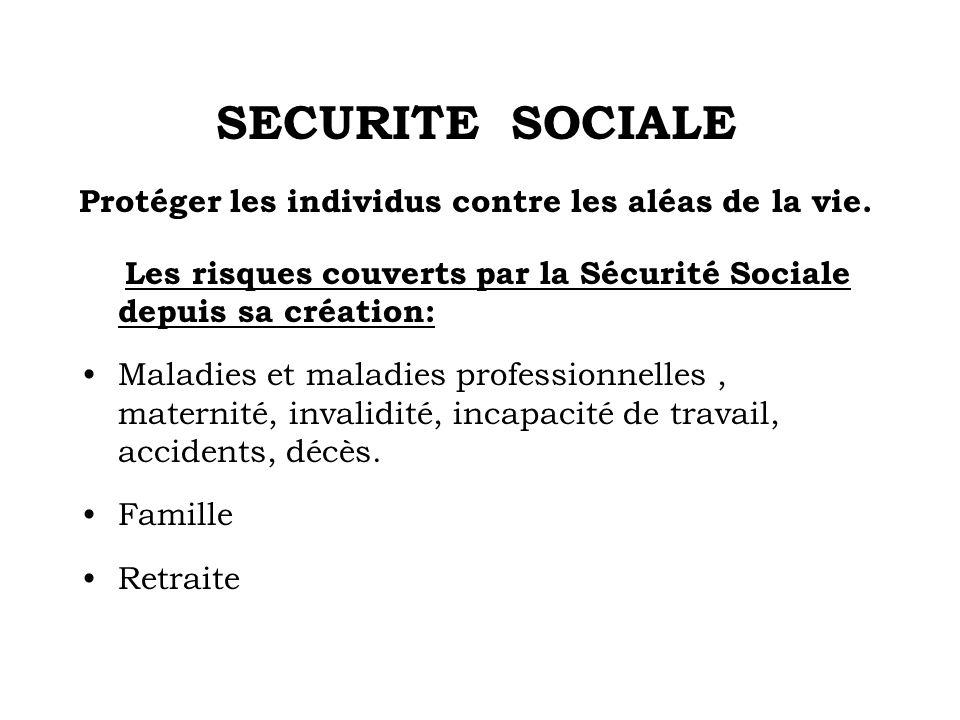 SECURITE SOCIALE Protéger les individus contre les aléas de la vie. Les risques couverts par la Sécurité Sociale depuis sa création: Maladies et malad
