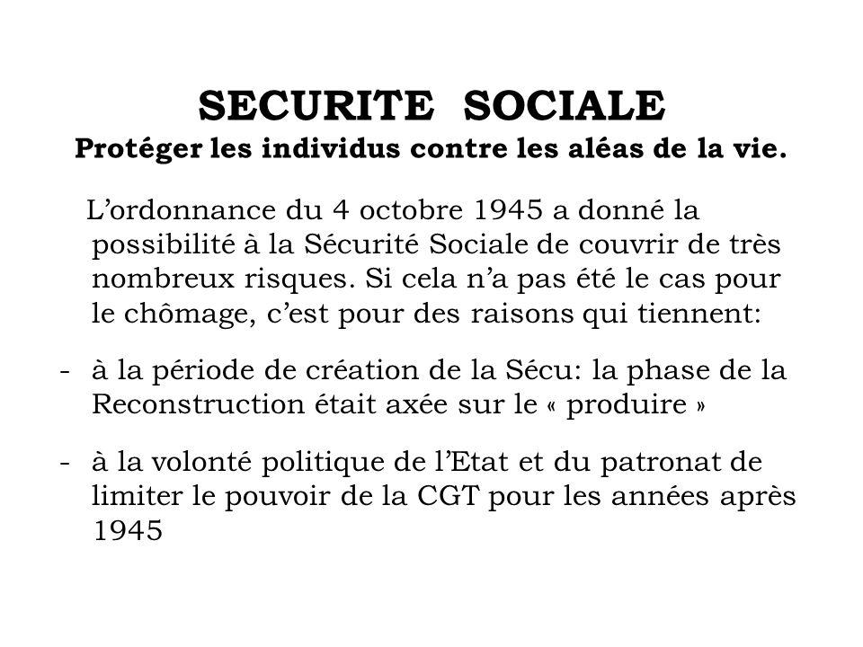 SECURITE SOCIALE Protéger les individus contre les aléas de la vie. Lordonnance du 4 octobre 1945 a donné la possibilité à la Sécurité Sociale de couv