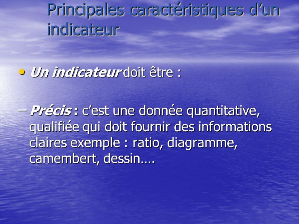 Principales caractéristiques dun indicateur Un indicateur doit être : Un indicateur doit être : – Précis : cest une donnée quantitative, qualifiée qui
