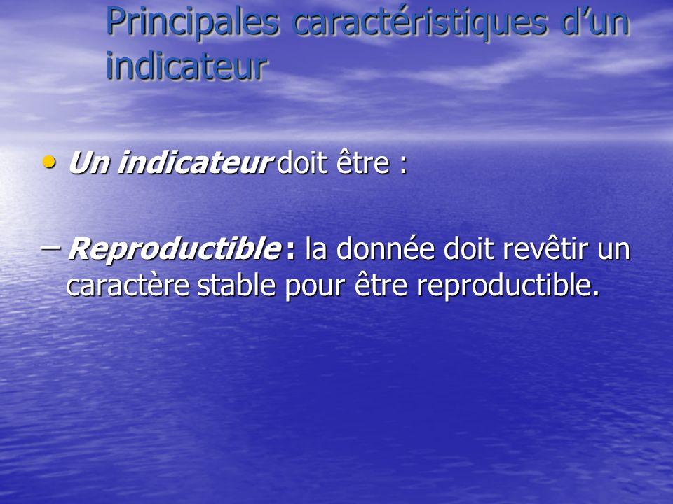 Principales caractéristiques dun indicateur Un indicateur doit être : Un indicateur doit être : – Reproductible : la donnée doit revêtir un caractère