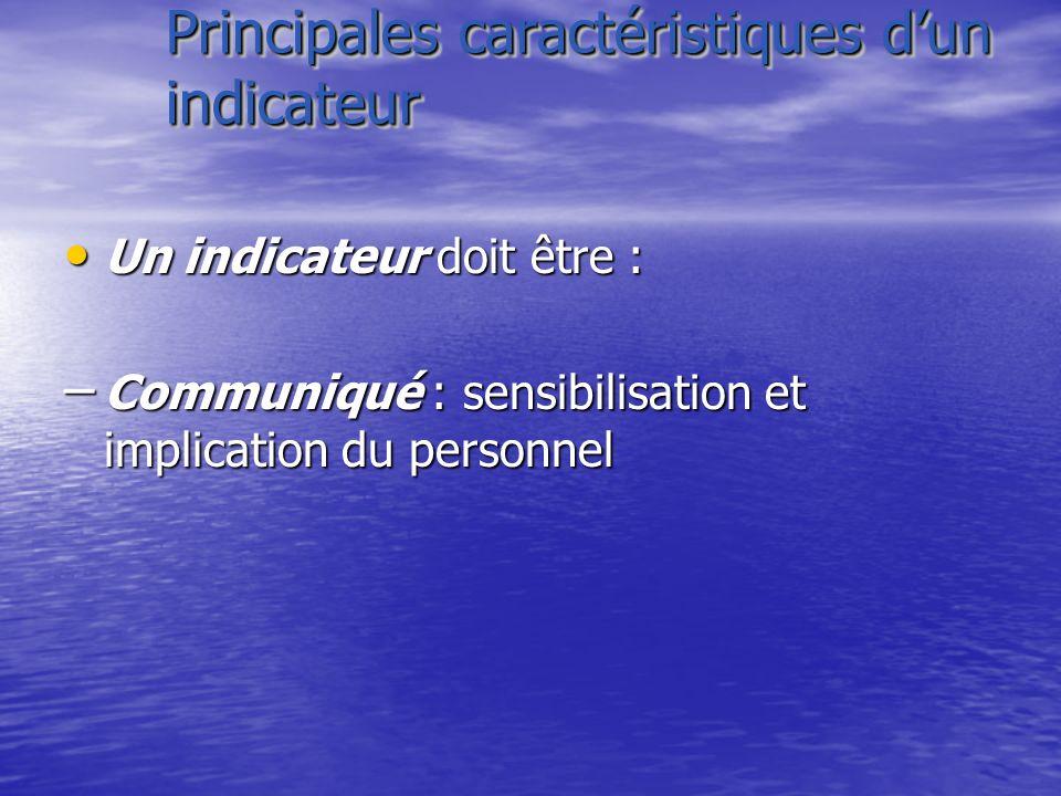 Principales caractéristiques dun indicateur Un indicateur doit être : Un indicateur doit être : – Communiqué : sensibilisation et implication du perso
