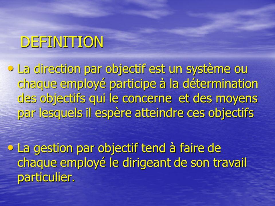 DEFINITION La direction par objectif est un système ou chaque employé participe à la détermination des objectifs qui le concerne et des moyens par les