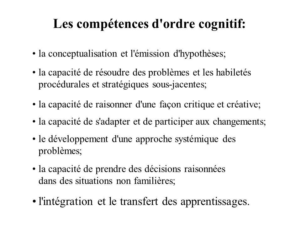 Les compétences d'ordre cognitif: l'intégration et le transfert des apprentissages. la conceptualisation et l'émission d'hypothèses; la capacité de ré