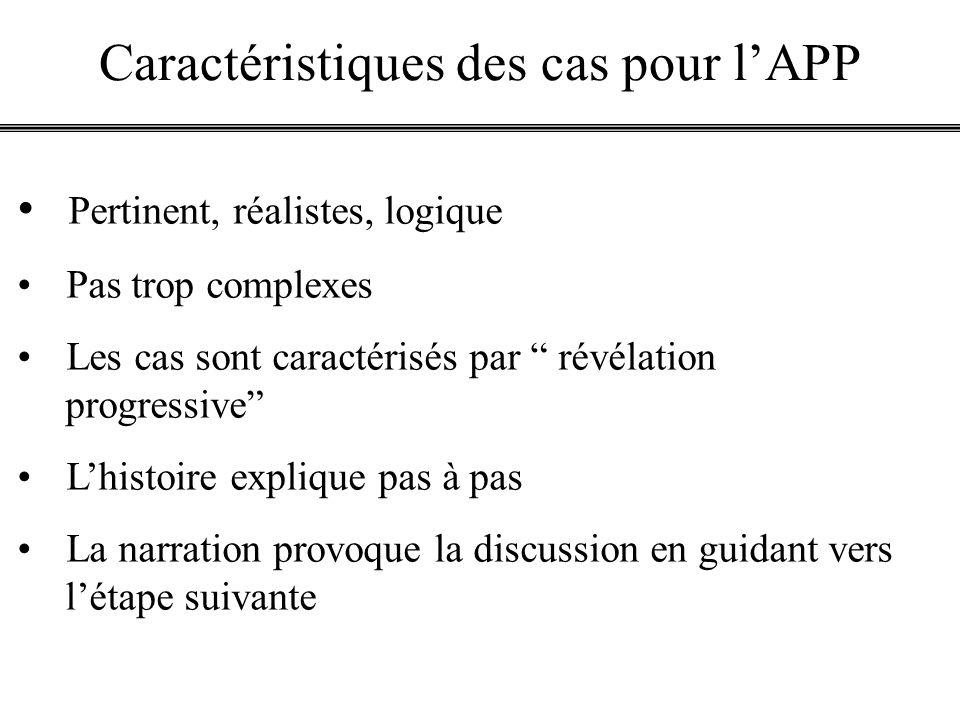 Caractéristiques des cas pour lAPP Pertinent, réalistes, logique Pas trop complexes Les cas sont caractérisés par révélation progressive Lhistoire exp