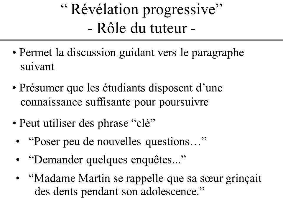 Révélation progressive - Rôle du tuteur - Permet la discussion guidant vers le paragraphe suivant Présumer que les étudiants disposent dune connaissan