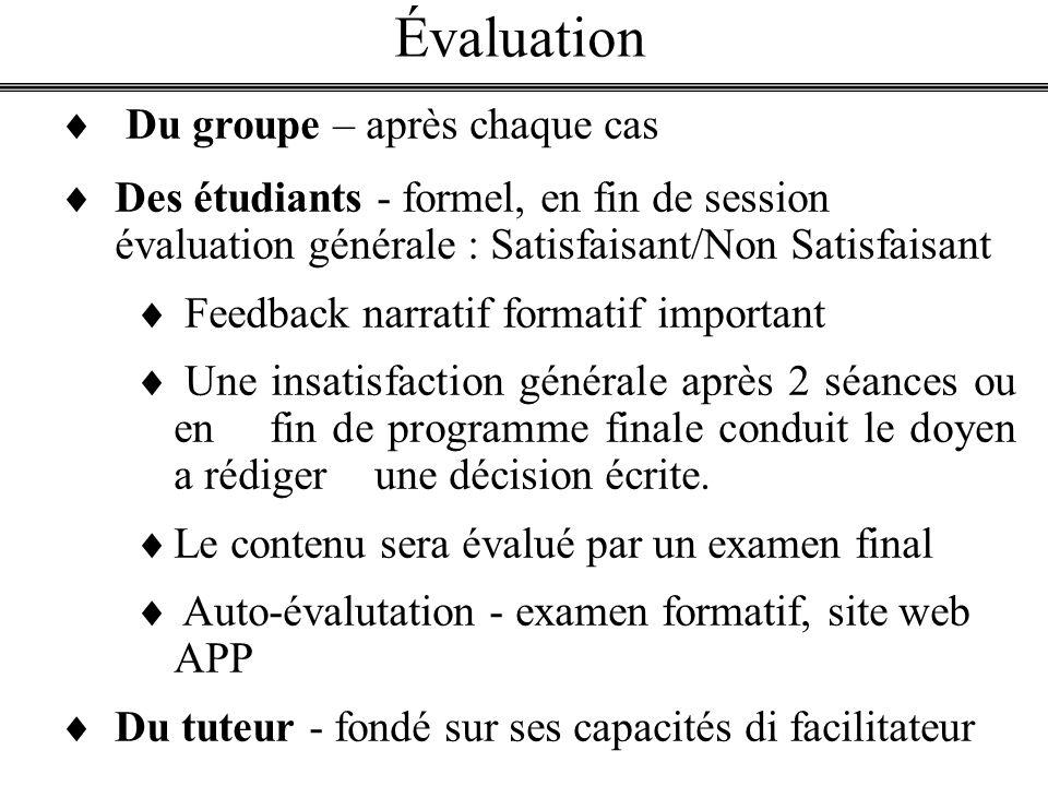 Évaluation Du groupe – après chaque cas Des étudiants - formel, en fin de session évaluation générale : Satisfaisant/Non Satisfaisant Feedback narrati