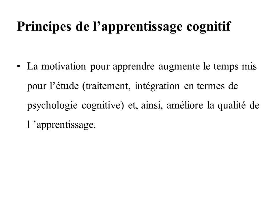 Principes de lapprentissage cognitif La motivation pour apprendre augmente le temps mis pour létude (traitement, intégration en termes de psychologie