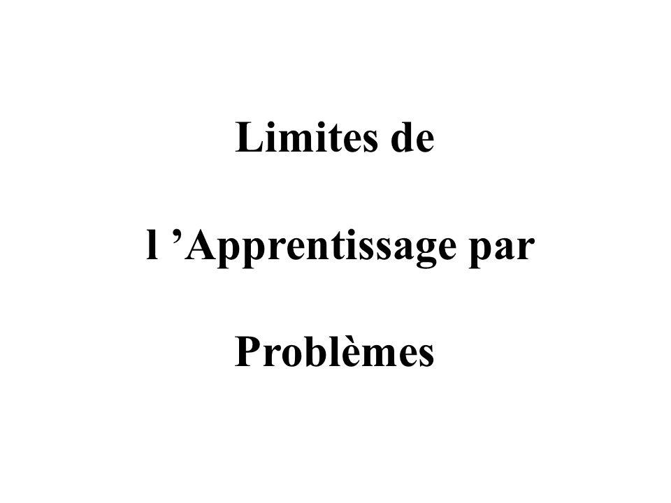 Limites de l Apprentissage par Problèmes