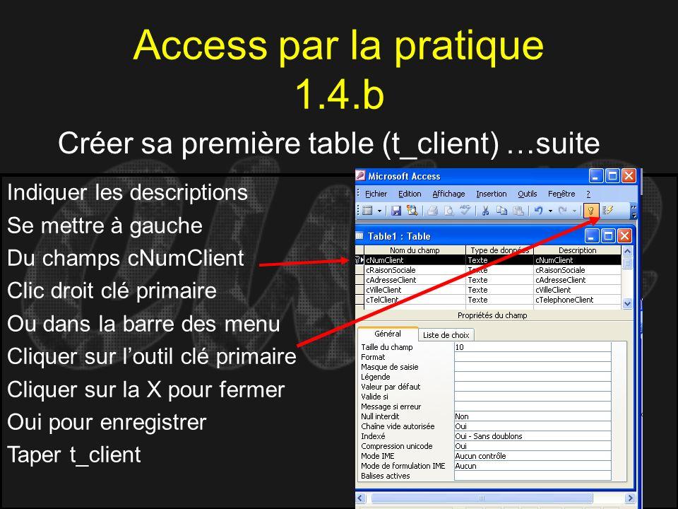 Access par la pratique 1.4.b Créer sa première table (t_client) …suite Indiquer les descriptions Se mettre à gauche Du champs cNumClient Clic droit cl
