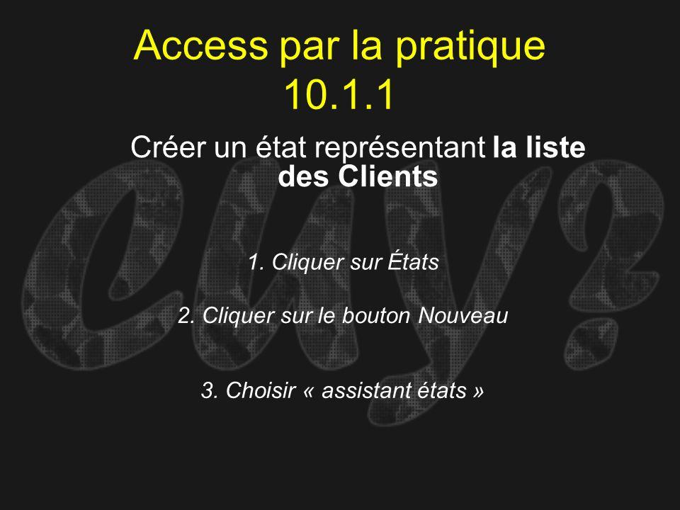 Access par la pratique 10.1.1 1. Cliquer sur États Créer un état représentant la liste des Clients 2. Cliquer sur le bouton Nouveau 3. Choisir « assis