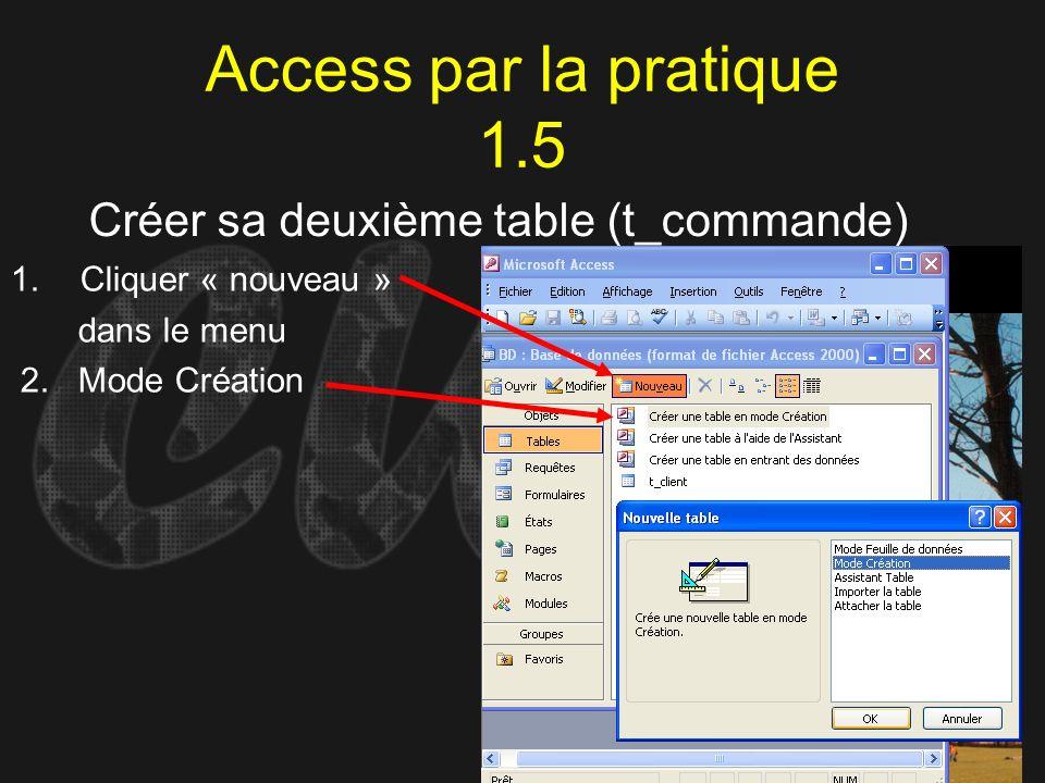 Access par la pratique 1.5 Créer sa deuxième table (t_commande) 1.Cliquer « nouveau » dans le menu 2. Mode Création
