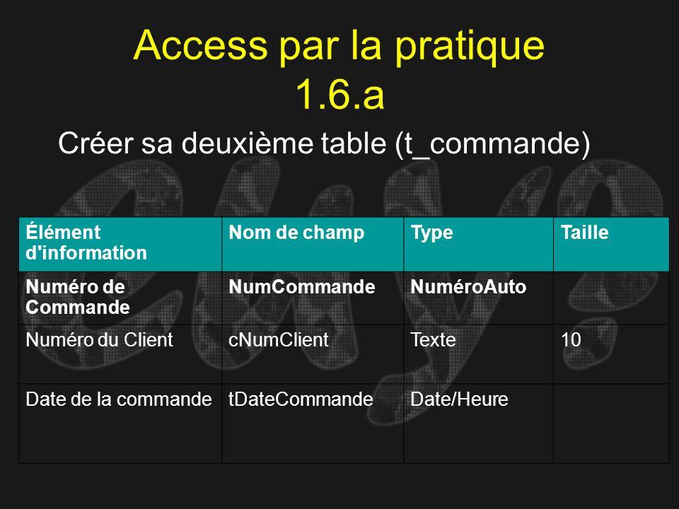 Access par la pratique 1.6.a Créer sa deuxième table (t_commande) Élément d'information Nom de champTypeTaille Numéro de Commande NumCommandeNuméroAut