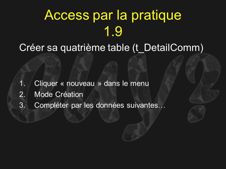 Access par la pratique 1.9 Créer sa quatrième table (t_DetailComm) 1.Cliquer « nouveau » dans le menu 2.Mode Création 3.Compléter par les données suiv