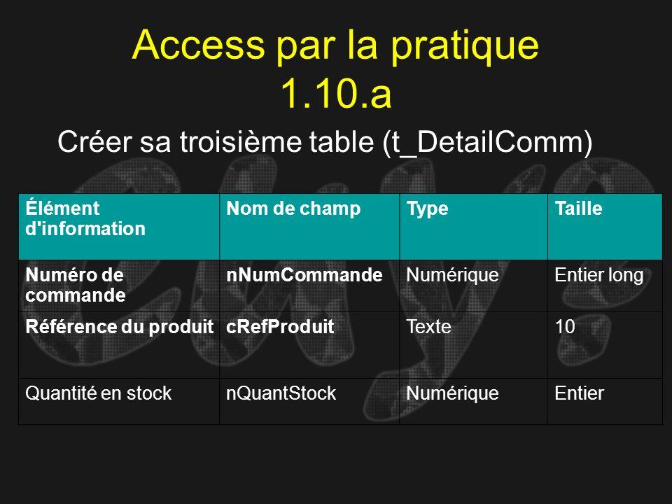 Access par la pratique 1.10.a Créer sa troisième table (t_DetailComm) Élément d'information Nom de champTypeTaille Numéro de commande nNumCommandeNumé