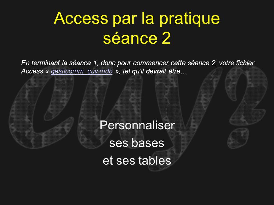 Access par la pratique séance 2 Personnaliser ses bases et ses tables En terminant la séance 1, donc pour commencer cette séance 2, votre fichier Acce