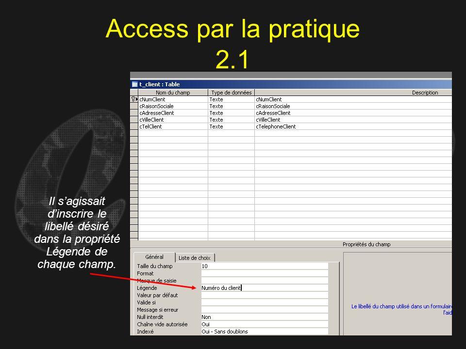 Access par la pratique 2.1 Il sagissait dinscrire le libellé désiré dans la propriété Légende de chaque champ.