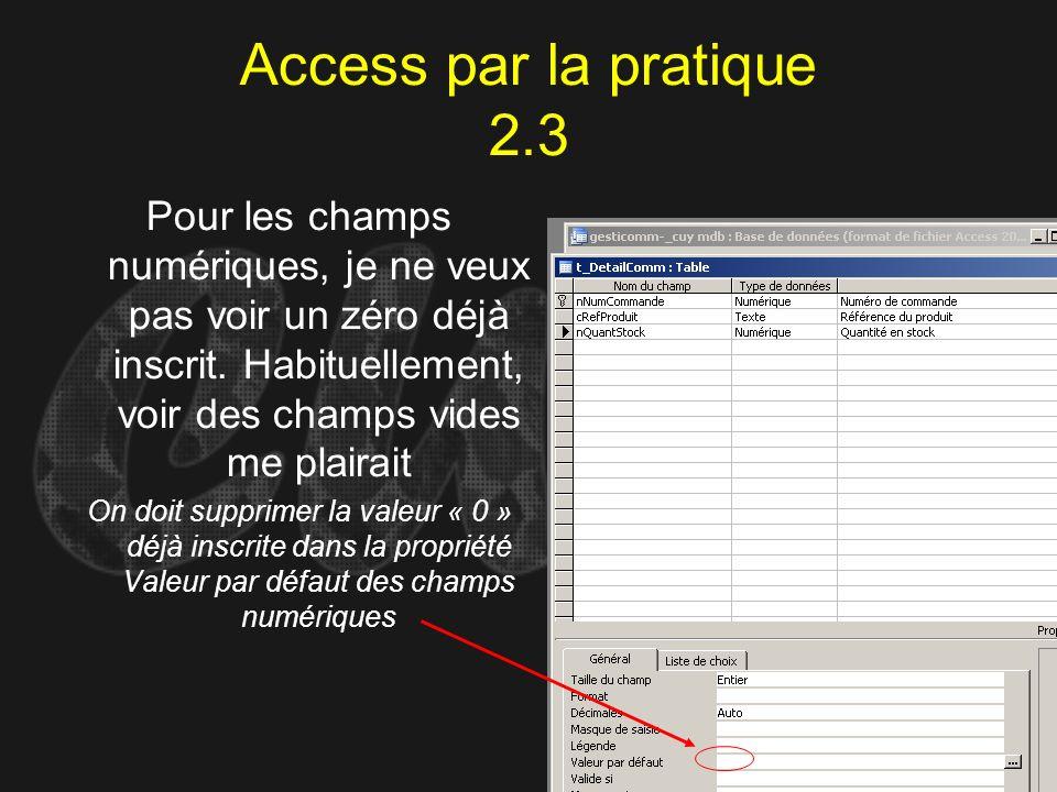 Access par la pratique 2.3 Pour les champs numériques, je ne veux pas voir un zéro déjà inscrit. Habituellement, voir des champs vides me plairait On
