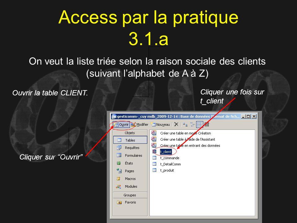 Access par la pratique 3.1.a On veut la liste triée selon la raison sociale des clients (suivant lalphabet de A à Z) Ouvrir la table CLIENT. Cliquer u