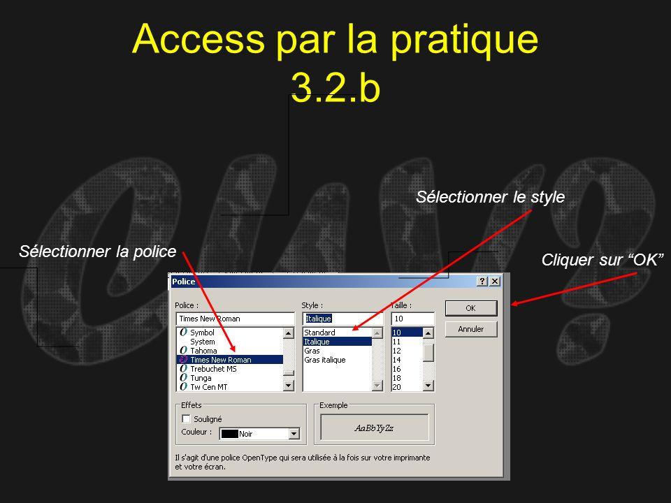 Access par la pratique 3.2.b Sélectionner la police Sélectionner le style Cliquer sur OK
