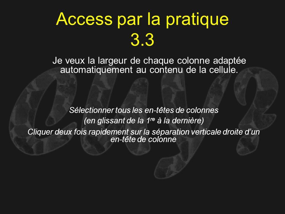 Access par la pratique 3.3 Sélectionner tous les en-têtes de colonnes (en glissant de la 1 re à la dernière) Je veux la largeur de chaque colonne adap