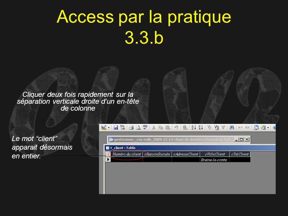 Access par la pratique 3.3.b Cliquer deux fois rapidement sur la séparation verticale droite dun en-tête de colonne Le mot client apparait désormais e