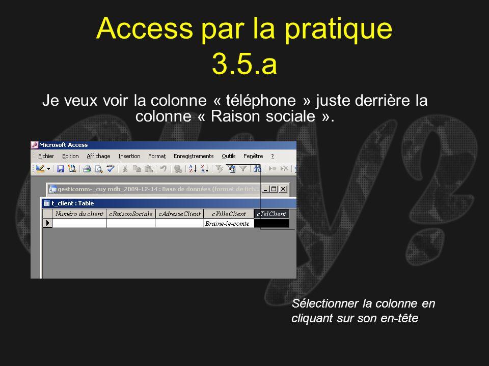 Access par la pratique 3.5.a Je veux voir la colonne « téléphone » juste derrière la colonne « Raison sociale ». Sélectionner la colonne en cliquant s