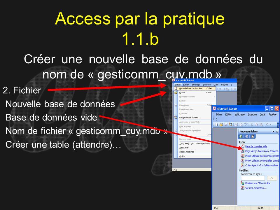 Access par la pratique 1.1.b Créer une nouvelle base de données du nom de « gesticomm_cuy.mdb » 2. Fichier Nouvelle base de données Base de données vi