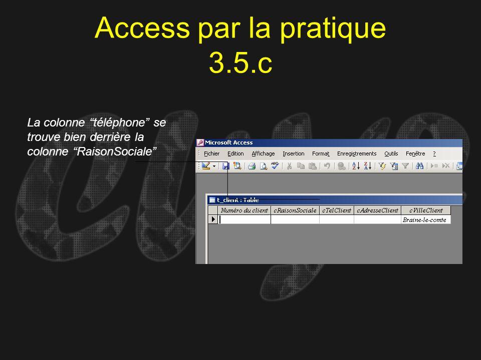 Access par la pratique 3.5.c La colonne téléphone se trouve bien derrière la colonne RaisonSociale