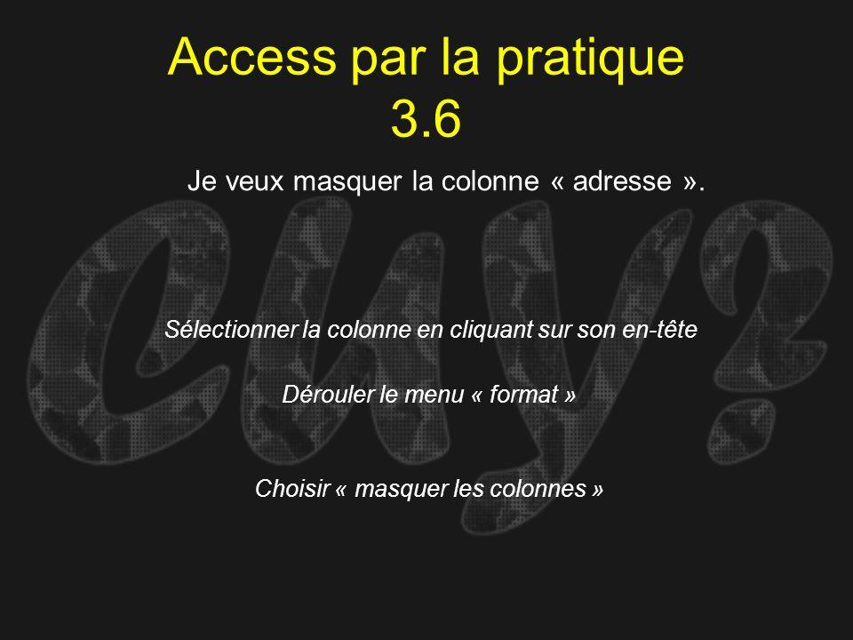 Access par la pratique 3.6 Sélectionner la colonne en cliquant sur son en-tête Je veux masquer la colonne « adresse ». Dérouler le menu « format » Cho