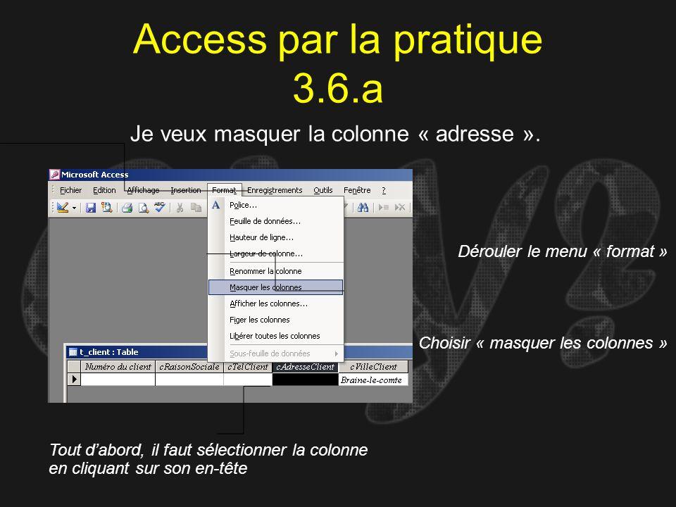 Access par la pratique 3.6.a Je veux masquer la colonne « adresse ». Tout dabord, il faut sélectionner la colonne en cliquant sur son en-tête Dérouler