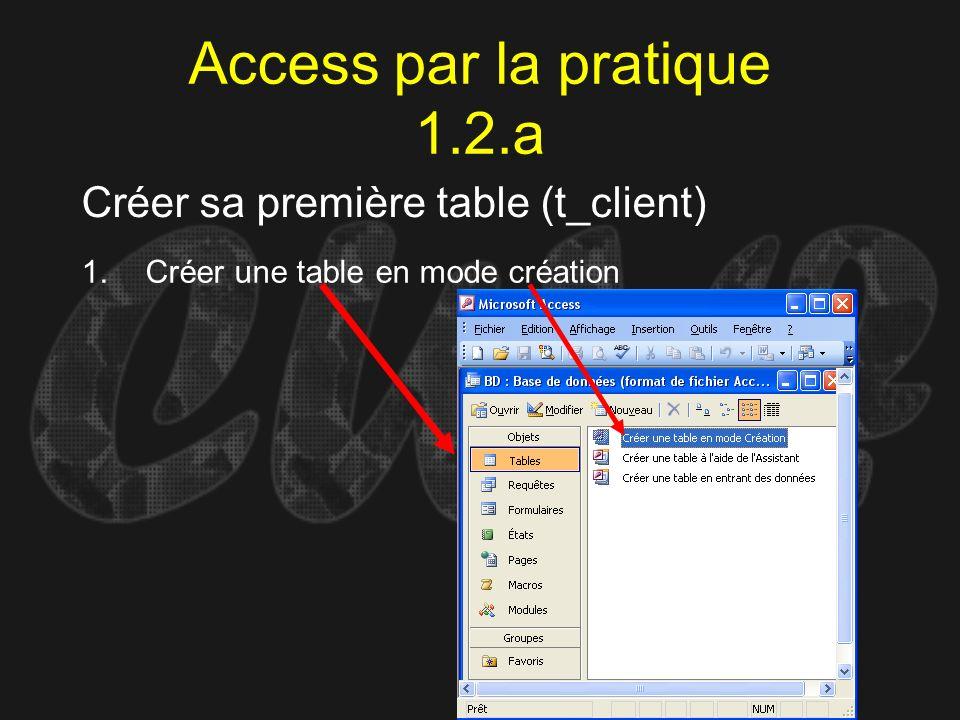 Access par la pratique 1.2.a Créer sa première table (t_client) 1.Créer une table en mode création