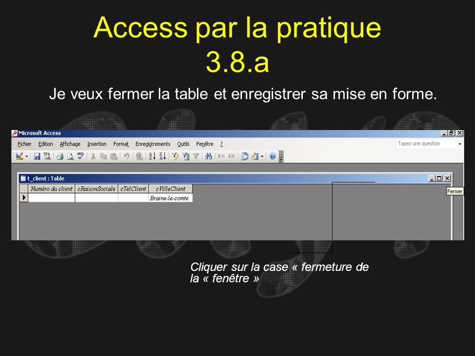 Access par la pratique 3.8.a Je veux fermer la table et enregistrer sa mise en forme. Cliquer sur la case « fermeture de la « fenêtre »