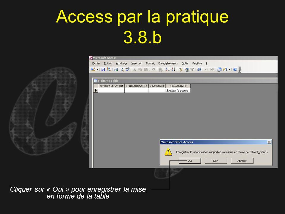 Access par la pratique 3.8.b Cliquer sur « Oui » pour enregistrer la mise en forme de la table