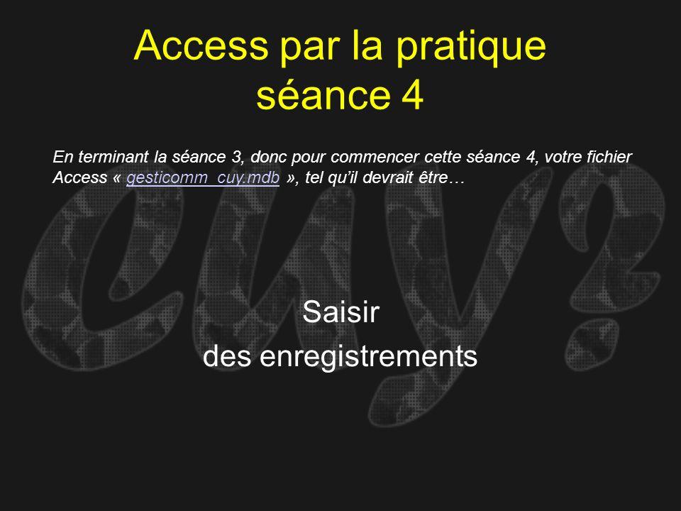 Access par la pratique séance 4 Saisir des enregistrements En terminant la séance 3, donc pour commencer cette séance 4, votre fichier Access « gestic