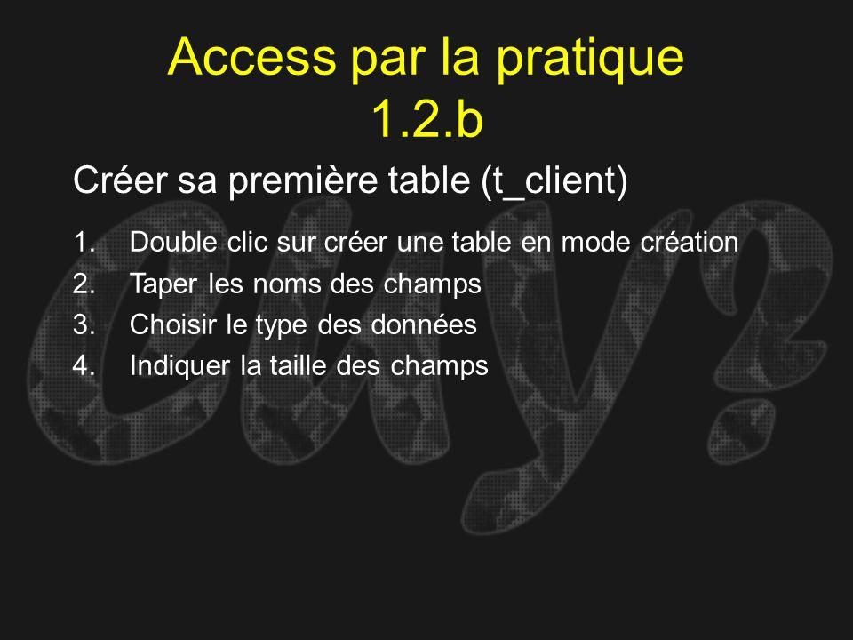 Access par la pratique 1.2.b Créer sa première table (t_client) 1.Double clic sur créer une table en mode création 2.Taper les noms des champs 3.Chois