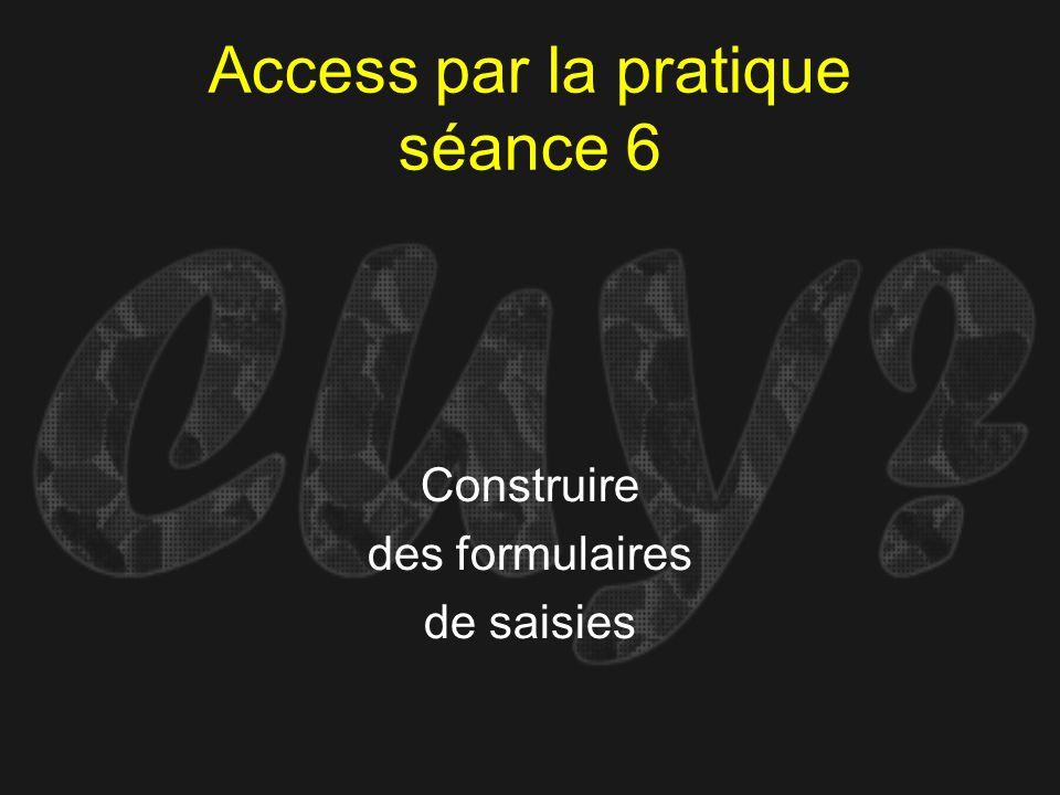 Access par la pratique séance 6 Construire des formulaires de saisies