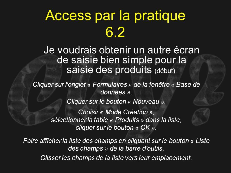 Access par la pratique 6.2 Cliquer sur l'onglet « Formulaires » de la fenêtre « Base de données ». Cliquer sur le bouton « Nouveau ». Je voudrais obte
