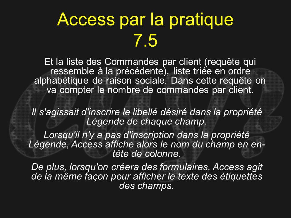 Access par la pratique 7.5 Il s'agissait d'inscrire le libellé désiré dans la propriété Légende de chaque champ. Et la liste des Commandes par client