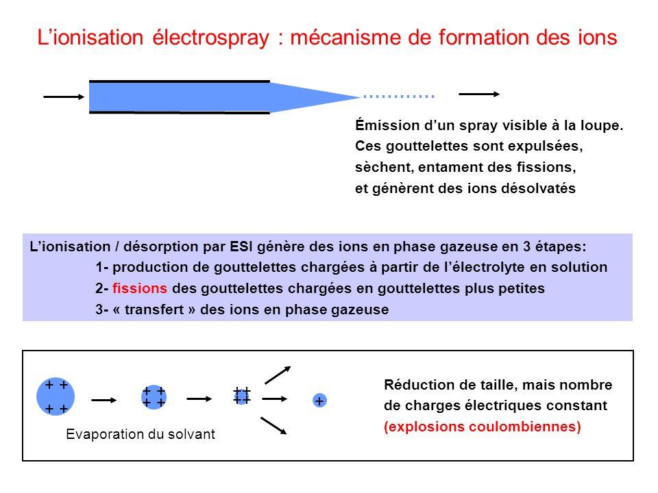 Lionisation électrospray : mécanisme de formation des ions Émission dun spray visible à la loupe. Ces gouttelettes sont expulsées, sèchent, entament d