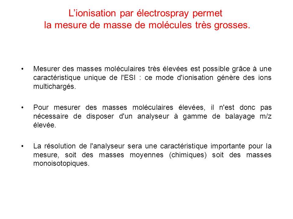 Lionisation par électrospray permet la mesure de masse de molécules très grosses. Mesurer des masses moléculaires très élevées est possible grâce à un