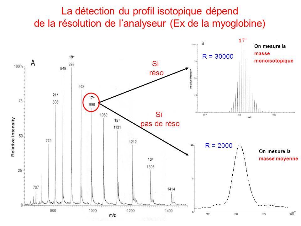 17 + Si réso Si pas de réso La détection du profil isotopique dépend de la résolution de lanalyseur (Ex de la myoglobine) On mesure la masse moyenne R